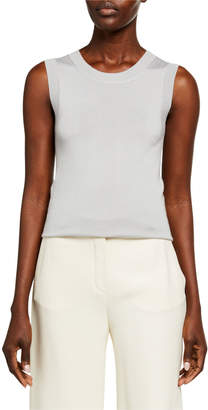 Sally LaPointe Crewneck Sleeveless Cashmere-Silk Shell