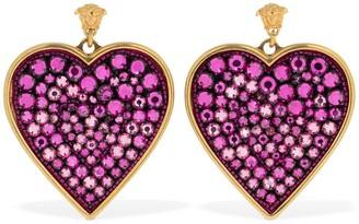 Versace Heart Crystal Statement Earrings