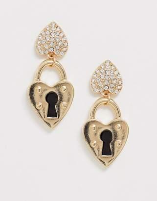 Glamorous gold heart padlock drop earrings