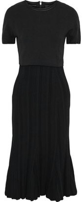 Proenza Schouler Fluted Ponte And Plisse Stretch-knit Dress