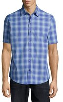 Zachary Prell Plaid Woven Short-Sleeve Shirt, Blue