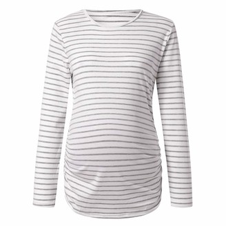 Arestory Women's Maternity Pregnancy Wrap Tops Ladies Mom Stripe Print T-Shirt Nursing Breastfeeding Baby Shirt Pullover Clothes Comfy Elasticity Sleepwear Nightwear New Pregnant Basic Tee Long Blouse Gray