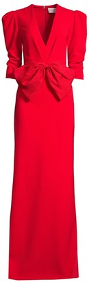 Sachin + Babi Chelsea Front Bow Puff-Sleeve Column Gown