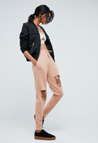 Missguided Nude Ripped Front Joggers
