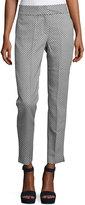 Catherine Malandrino Dot-Print Slim Ankle Pants, White/Blue