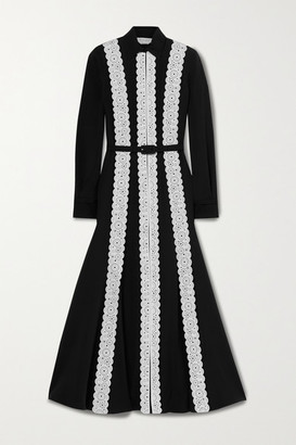 Gabriela Hearst Kari Laser-cut Leather-paneled Silk And Wool-blend Shirt Dress - Black