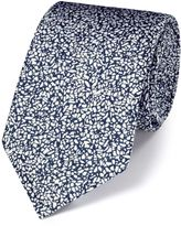 Charles Tyrwhitt White and Blue Silk End-On-End Luxury Tie Size OSFA