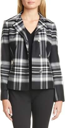 BOSS Jasanda Check Peplum Stretch Wool Jacket