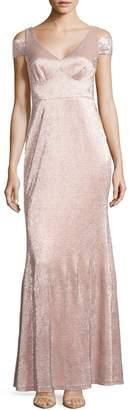 Calvin Klein Metallic Cold-Shoulder Gown