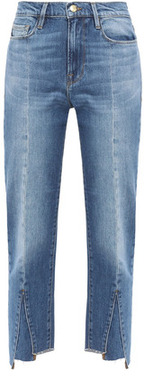 Frame Le Nouveau Straight Cropped Paneled High-rise Straight-leg Jeans