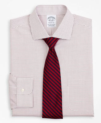 Brooks Brothers Stretch Regent Fitted Dress Shirt, Non-Iron Poplin English Collar Small Grid Check
