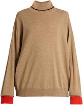 Marni Roll-neck contrast-cuff cashmere sweater
