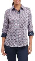 Foxcroft Ava Non-Iron Tile Print Cotton Shirt