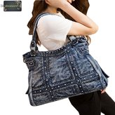 Donalworld Women Large Fashion Rivet Denim Tote Shoulder Handbag