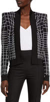 Balmain Collarless Grid Effect Jacket