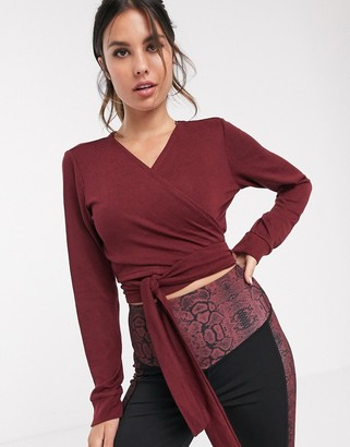 South Beach knitwrap soft cropped cardigan-Red