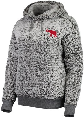 Women's Heathered Gray Alabama Crimson Tide Sherpa Inside & Out Pullover Hoodie