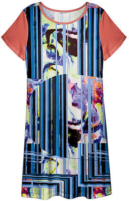 Lily Women's Casual Dresses BLU - Blue & Coral Abstract T-Shirt Dress - Women & Plus