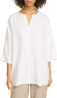 Eileen Fisher Split Neck Dolman Sleeve Organic Linen Tunic