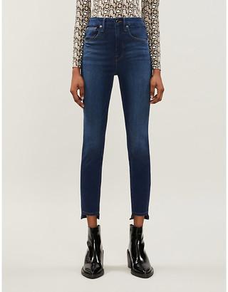 Good American Good Waist stepped hem high-rise jeans