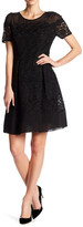 Anne Klein Short Sleeve Crochet Fit & Flare Dress