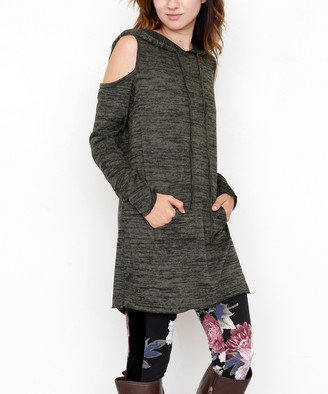 Egs By Eloges egs by eloges Women's Tunics Olive - Olive Hooded Cutout Tunic - Women