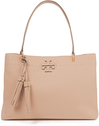 Tory Burch Mcgraw Tasseled Pebbled-leather Tote