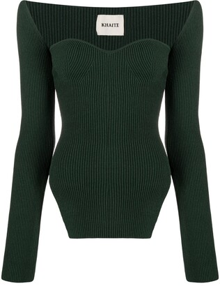 KHAITE Maddy sculpted ribbed-knit top