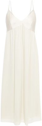 Theory Shirred Hammered-satin And Silk-crepe Midi Dress