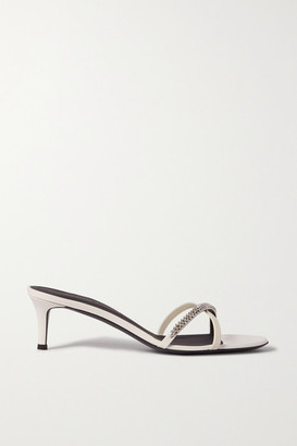 Giuseppe Zanotti Crystal-embellished Smooth And Patent-leather Mules - White
