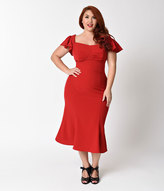 Stop Staring Plus Size Red Cap Sleeve Tulsa Wiggle Dress