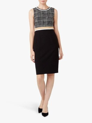 Hobbs Aida Colour Block Shift Dress, Black/Camel