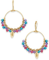 lonna & lilly Gold-Tone Shell & Multi-Bead Drop Hoop Earrings