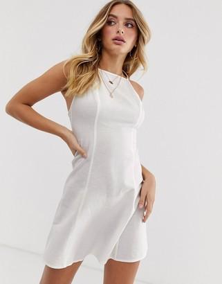 Asos Design DESIGN high neck low back mini linen sundress-White