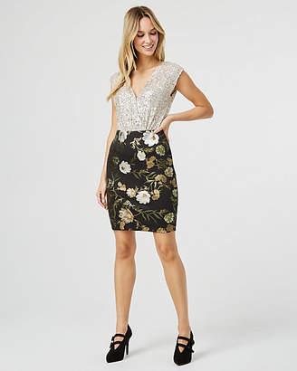 Le Château Floral Print Foil Knit Mini Skirt