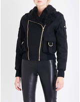 Balmain Shearling-lined stretch-cotton bomber jacket