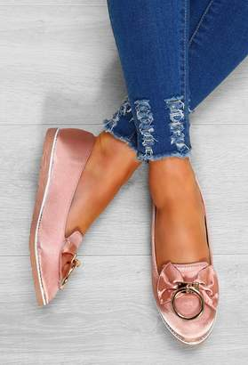 Pink Boutique Fancy Feet Pink Satin Bow Detail Flat Shoes