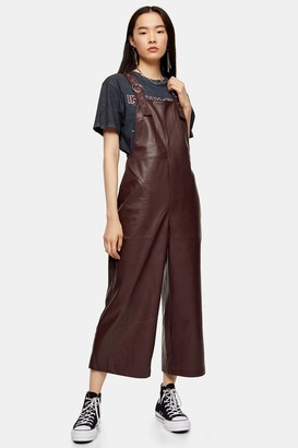 Topshop Burgundy Faux Leather PU Dungarees
