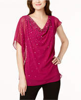 MSK Beaded and Draped Asymmetrical Top