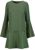 Tibi Belle Fluted Silk Crepe De Chine Mini Dress