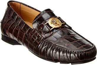 Versace Medusa Croc-Embossed Leather Loafer