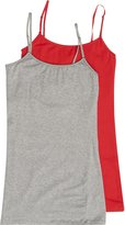 Active USA 2 Pack Active Basic Women's Long Cami w/ Built in Bra Adjustable Strap