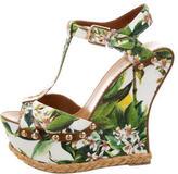 Dolce & Gabbana Floral Platform Wedge Sandals
