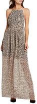 BCBGeneration Shirred Leopard Print Halter Dress