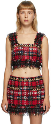 Balmain Multicolor Tartan Tweed Tank Top