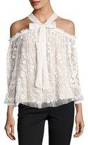 Needle & Thread Primrose Cold-Shoulder Floral Tulle Top, White