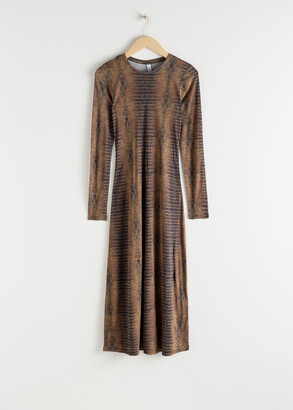 And other stories Croc Print Fitted Midi Dress