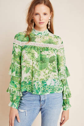 Tracy Reese Hope For Flowers By Angelina Ruffle-Sleeved Silk Peasant Blouse
