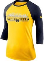 Nike Women's Maize Michigan Wolverines Static Graphic Raglan 3/4-Sleeve Performance T-Shirt