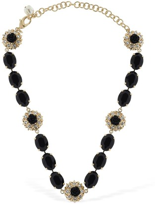 Dolce & Gabbana Black Roses Crystal Necklace